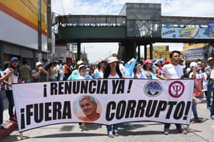 University students in Guatemala City take to the streets demanding that President Otto Pérez Molina steps down over a corruption scandal.
