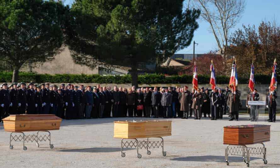 The funeral service for the three people killed in the terrorist attack in Trèbes.