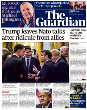 Guardian front page, Thursday 5 December 2019