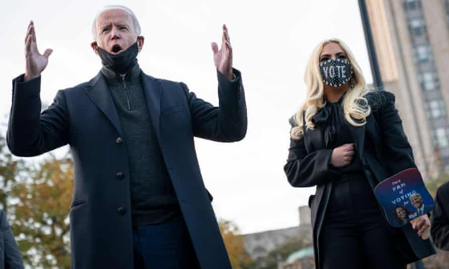 Biden with Lady Gaga in Pittsburgh.