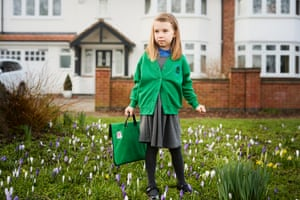 """Freya Fogarty sets off for Hillmorton primary school in Rugby. """"I'm looking forward to seeing my teachers and my friends - if I can remember their names - I haven't seen them for a long time!"""""""