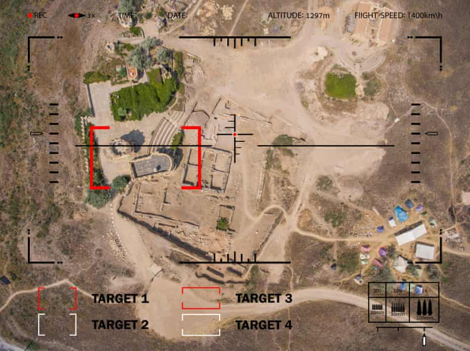 A drone's eye view of a target in the desert.