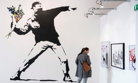 A reproduction of the Flower Thrower stencil mural at a Banksy exhibition in Budapest this year.
