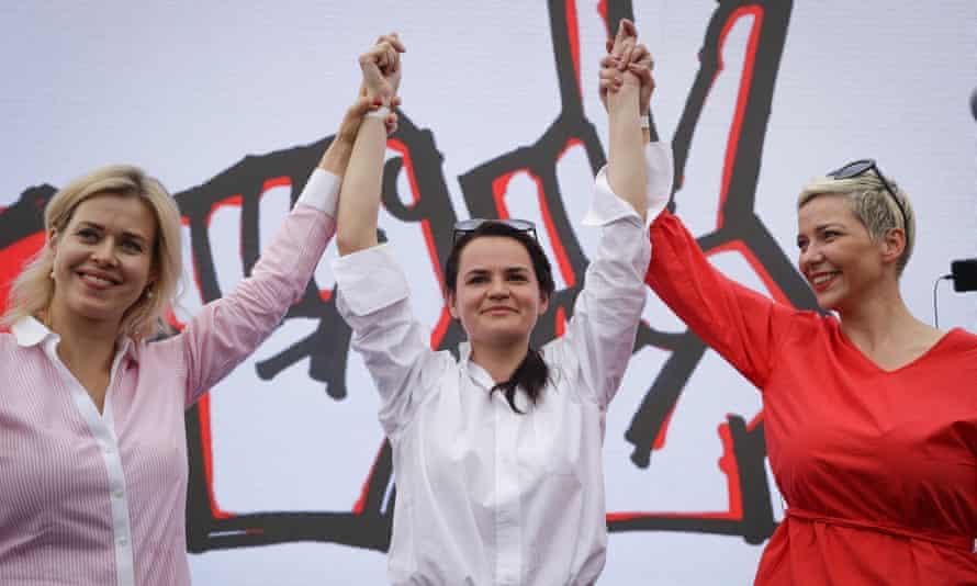 From left: Veronika Tsepkalo, Svetlana Tikhanovskaya and Maria Kolesnikova, at a rally in July.