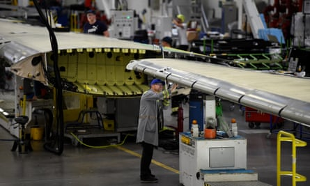 A worker inspects a C Series aeroplane wing in the Bombardier factory in Belfast.