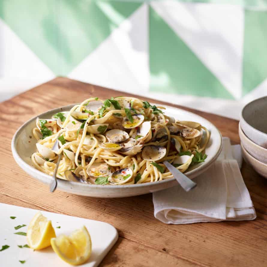 Clams, lovage, linguine. Food styling Jules Mercer. Prop styling Kate Whitaker.
