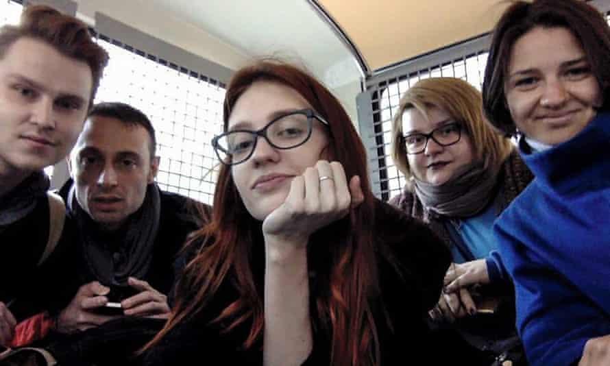 A selfie taken inside a police van by Russian gay rights activist Nikita Safronov, showing, from left: Safronov, Yuri Guaiana, Valentina Dekhtyarenko, Marina Dedales and Alexandra Alexeeva.