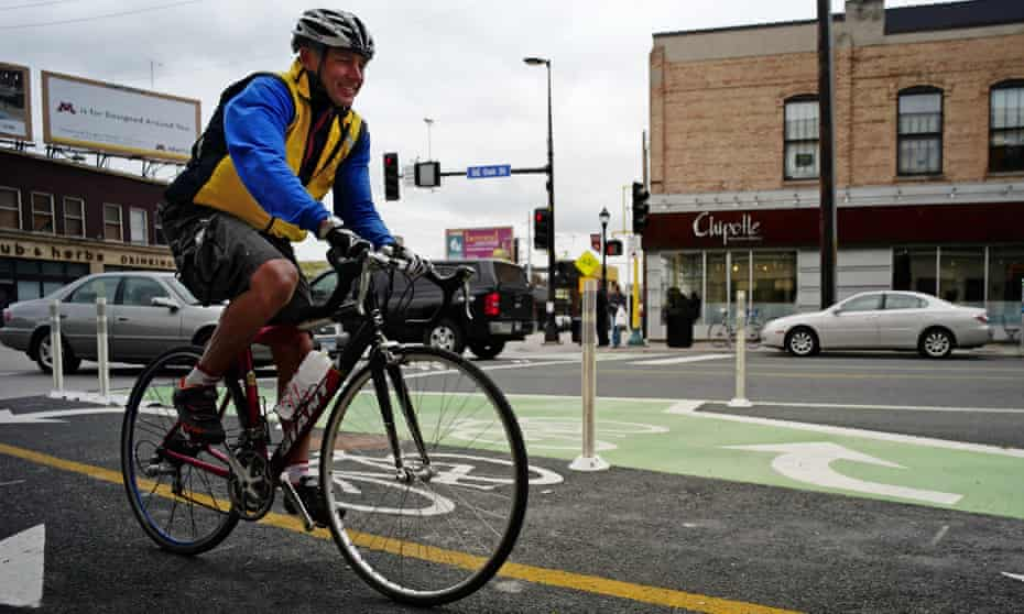 Bike lane in Minneapolis is intended to make bikers less nervous about riding through traffic