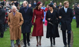 The royal family attending the Christmas Day church service at St Mary Magdalene, Sandringham: (from left) Prince Charles, Prince William and Kate, and Meghan and Prince Harry.