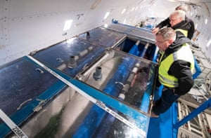 One of the whales is inspected inside a tank before it is unloaded from an aircraft at Keflavík airport in Iceland.