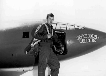 Chuck Yeager and the Bell X-1 plane in which he broke the sound barrier.