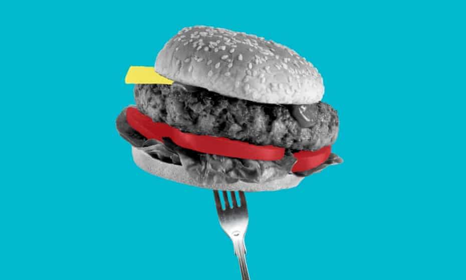 A burger on a fork