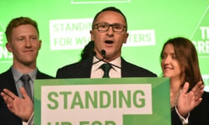 The Greens leader, Richard Di Natale, at his party's campaign launch in Melbourne on Sunday.