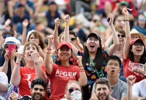 Roger Federer fans watching on the big screen are happy.