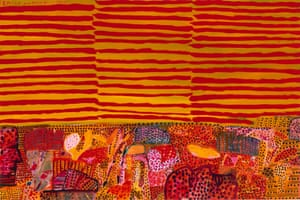 Emily and Michael's place I (1995) by Ken Done, in a tribute to Indigenous Australian artists Emily Kame Kngwarreye and Michael Jagamara Nelson.