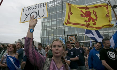 Scottish independence campaigners protested outside the BBC's headquarters in Glasgow four days before the referendum.
