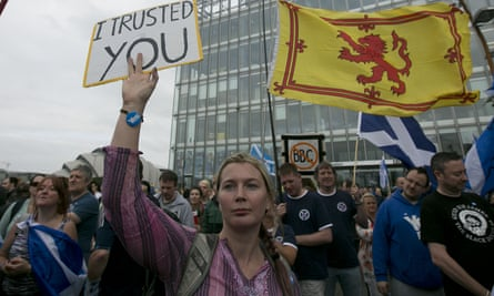 Independence supporters rally outside the BBC Scotland HQ in Glasgow in September 2014 in protest at alleged bias during the campaign.