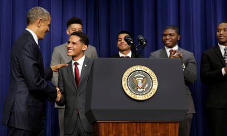 Barack Obama greets attendees at the My Brother's Keeper Summit at the White House.