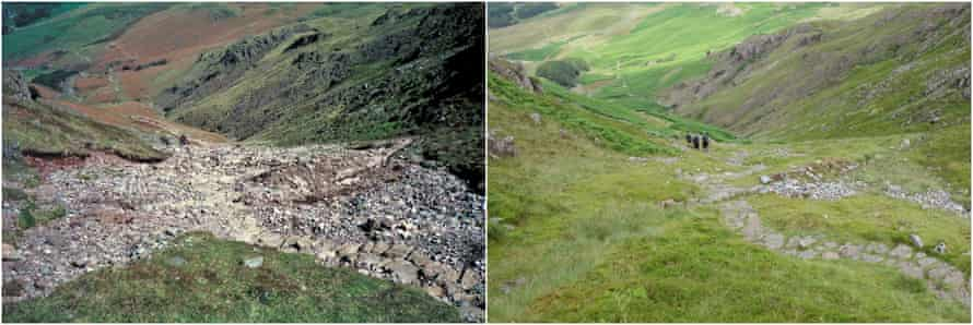 A before and after picture of Redacre Gill in Langdale.
