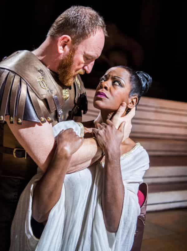 Josette Simon (Cleopatra) and Antony Byrne (Antony) in Antony & Cleopatra.