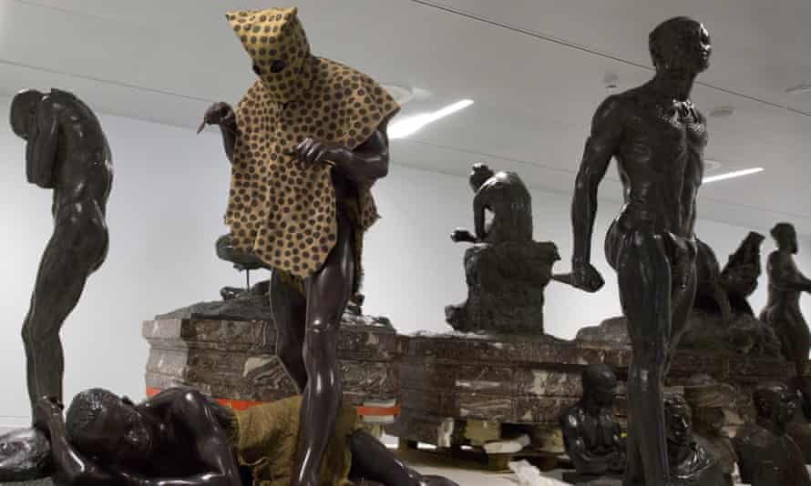 The controversial 'Leopard Man' sculpture at the Africa museum