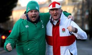An Ireland fan and England fan outside the ground.