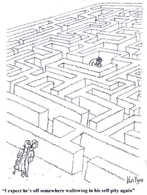 """""""I expect he's off somewhere wallowing in his self-pity again."""" Ken Pyne's view of the cartoonist sitting glumly in the centre of a maze"""