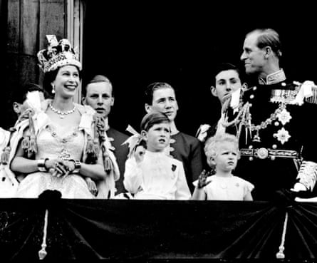 The royal family on the balcony at Buckingham Palace after the Queen's coronation in 1953.