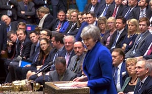 Prime Minister Theresa May speaking in the House of Commons, London, after MPs rejected Labour's motion of no confidence by 325 votes to 306.