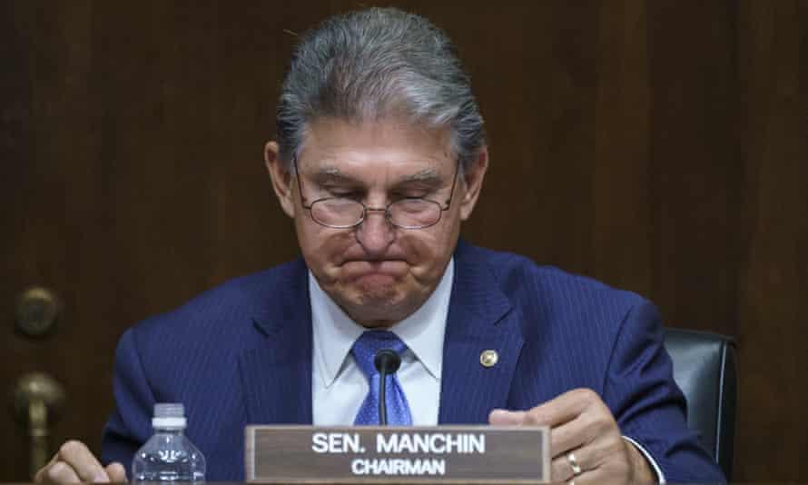 Senator Joe Manchin, Democrat of West Virginia, chairs a Senate energy and natural resources committee hearing.