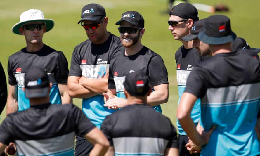 Kane Williamson, New Zealand's captain, talks to his players at Lord's as they prepare for the first Test against England.