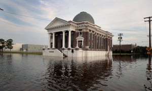 Floodwater surrounds the First Baptist Church in Orange, Texas, after Hurricane Harvey caused widespread flooding.