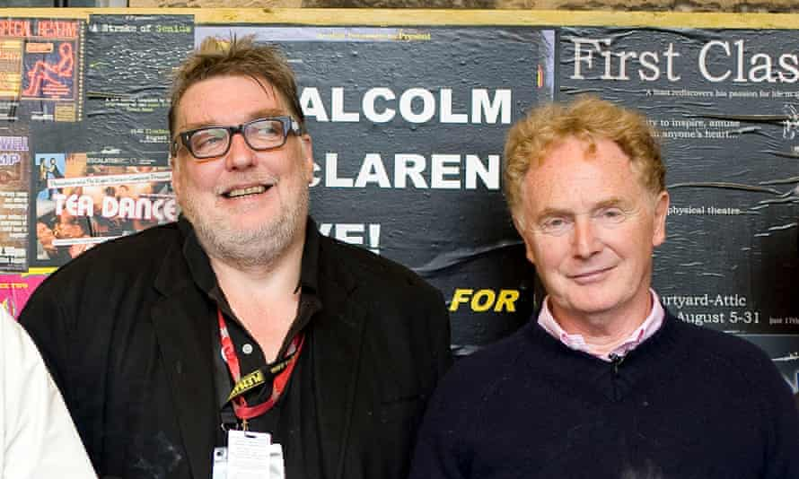 David Johnson, left, with Malcolm MacLaren at the Edinburgh festival in 2009. Johnson began his career writing about the 1980s club scene for the Face magazine.