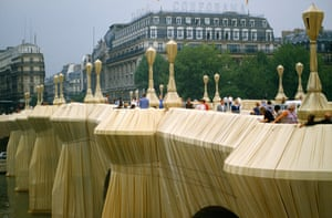 1985, Paris The Pont Neuf Bridge across the River Seine wrapped by Christo as an installation sculpture.
