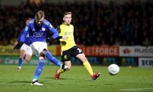 James Maddison scores Leicester's third goal against Burton Albion