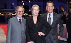 Steven Spielberg, left, with his The Post lead actors Meryl Streep and Tom Hanks, at the film's European premiere on Wednesday.
