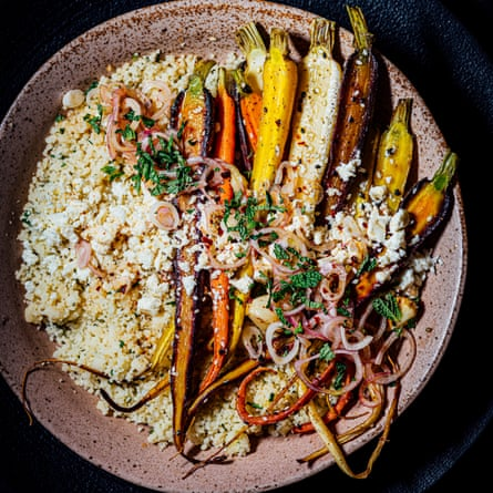 Couscous with sesame-roasted carrots and feta.