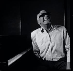Ray Charles in Los Angeles on 3 November 1992. During a shoot for Musician magazine, Harbron took pictures of Charles in his studio but still can't remember what he said to make him laugh.