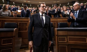 Mariano Rajoy after being re-elected during the parliamentary investiture vote for a prime minister at the Spanish congress on Saturday.