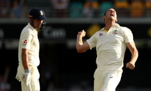Josh Hazlewood celebrates after taking the wicket of Alastair Cook.