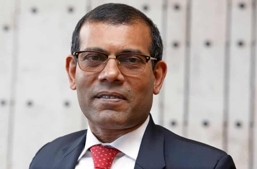 Maldives' former president Mohamed Nasheed speaks to ATS-SDA journalist Laurent Sierro, during an interview prior the 9th Geneva Summit for Human Rights and Democracy, in Geneva