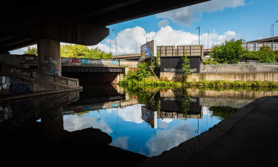 A view of the canal network below Spaghetti Junction in Birmingham.