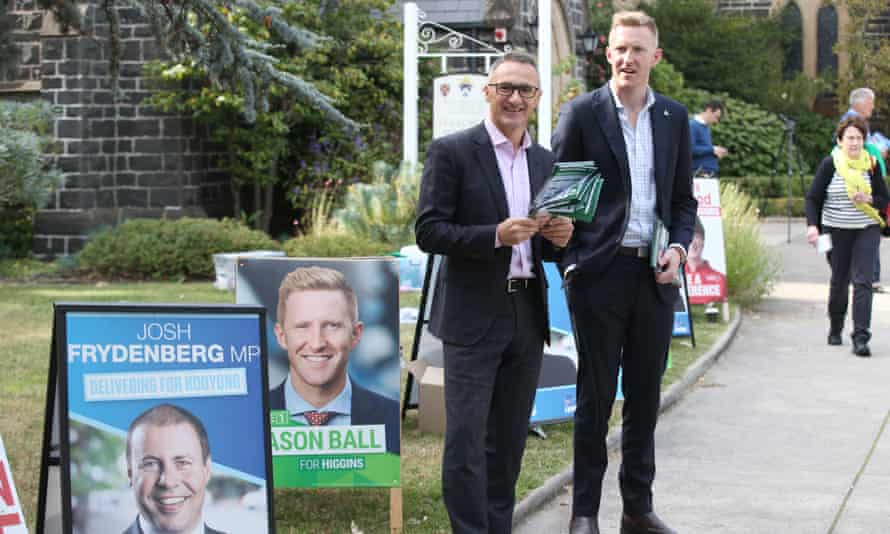 Greens leader Richard Di Natale campaigns with Jason Ball, who says Higgins is a blue-green contest in a young and highly educated electorate