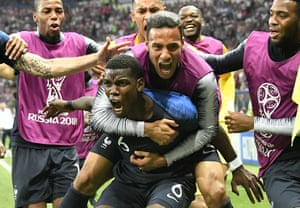Paul Pogba celebrates after scoring his side's third goal.