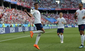 Jesse Lingard celebrates after putting England 3-0 ahead.