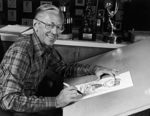 Charles M Schulz, who died in 2000, at work in his studio in 1978.