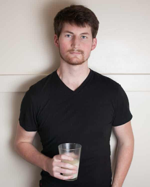 Rob Rheinhart and a glass of Soylent.