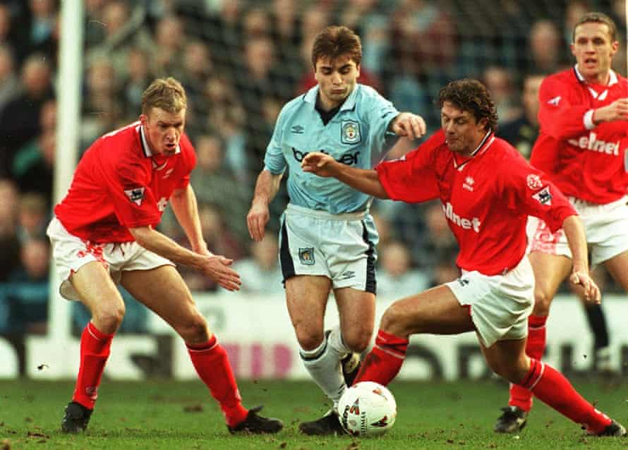 Georgi Kinkladze in action for Manchester City against Middlesbrough in 1997.