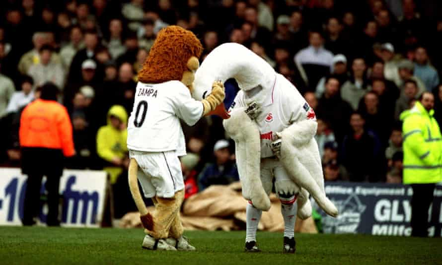 Cyril The Swan and Zampa The Lion go at it ahead of a meeting between Swansea City and Millwall. They were very much the Ali and Frazier of the mascot trade