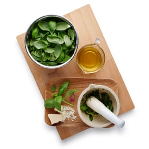 Make the pistou: bash the garlic in a mortar with a pinch of salt, add the basil, pound to a paste, then whisk in cheese and oil.